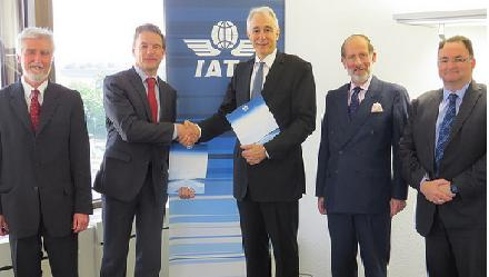 Tony Tyler, IATA Director General and CEO and Christian Friis Bach, UNECE Executive Secretary, along with Tom Windmuller (IATA Senior Vice President for Airport Passenger Cargo and Security) Gordon Wright (IATA Senior Manager, Cargo Customs and Facilitation), and Tom Butterly, (Deputy Director Economic Cooperation and Trade Division, UNECE) during the signing of MOU between IATA and UNECE in Geneva.