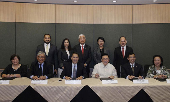 Photo 1, seated L-R: FBDC CFO Lourdes R. Reyes; FBDC Director Edgardo M. Cruz, Jr; Ayala Land, Inc. and FBDC President Bernard Vincent O. Dy; PSE Chairman Jose T. Pardo; PSE President and CEO Hans B. Sicat and PSE Director Vivian Yuchengco. Standing, L-R: PSE COO Roel A. Refran; PSE Corporate Secretary Aissa V. Encarnacion; PSE Director Edgardo G. Lacson; PSE Treasurer Omelita J. Tiangco and PSE Director Ramon S. Monzon.