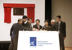 At the Launch Ceremony of Experimental Drug Development Centre. From left, Mr Lim Chuan Poh, Chairman, SFA; Mr Frederick Chew, CEO, A*STAR; Dr Damian O'Connell, CEO, EDDC; Mr Heng Swee Keat, Deputy Prime Minister And Minister For Finance; Ms Chan Lai Fung, Chairman, A*STAR and PS (NRD); Dr William Chin, Member, A*STAR Board, and Chairman, EDDC Governing Board; and Prof Tan Chorh Chuan, Chief Health Scientist, MOH.
