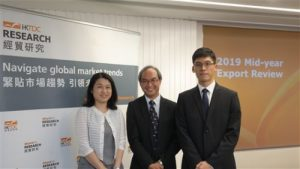 HKTDC Director of Research Nicholas Kwan (centre), HKTDC Assistant Principal Economist (Greater China) Alice Tsang (L) and HKTDC Economist Poon Cheuk-hong (R) today announced a revised export growth forecast for 2019 and the HKTDC Export Index for the second quarter of 2019. They also examined opportunities and trends in the Mainland China toy market.