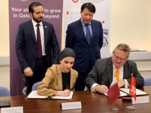 Sheikha Alanoud Bint Hamad Al-Thani Managing Director, Business Development, QFC, signing the MoU with Stephen Phillips, Director-General of Investment Promotion at Invest Hong Kong