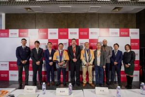 Morita, Miyao and others of the Ricoh Group cut a unified presence through out the launch ceremony and conference.