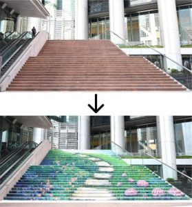 Garden in the City Centre, the first large-scale outdoor staircase painting at Grade A commercial building in Hong Kong