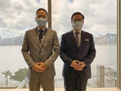 (Hong Kong Office) From left: Mr. Wong Shing Mun, Chief Financial Officer and Company Secretary; and Mr. Yan Kwok Ting Sunny, Director of ICF & IR Department