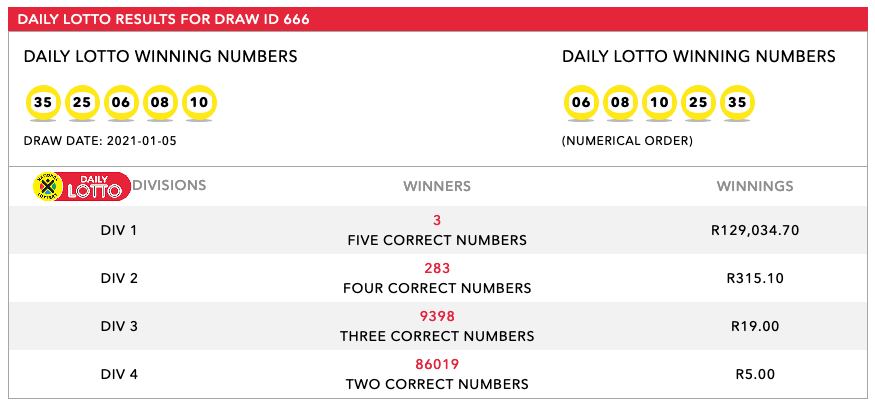 Daily Lotto Result